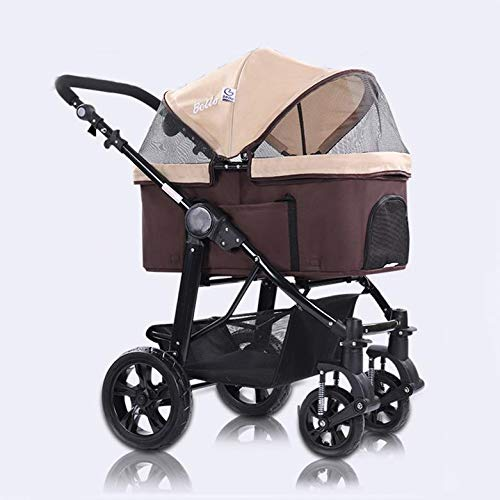 Brown 3-in-1 Luxury Dog Cat Pet Stroller (Travel Carrier + Car Seat +Stroller) with Detach Carrier EVA Solid Tires Aluminum Frame Reversible Handle for Medium & Small Pets,Brown