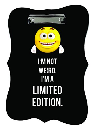 (Limited Edition. Funny Yellow Emoticon Quote Benelux Shaped 2-Sided Hardboard Clipboard with Glossy Finish and Silver Clip)