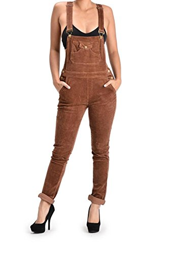 G-Style USA Women's Corduroy Overalls RJHO446 - BROWN - 2X-Large - S6E