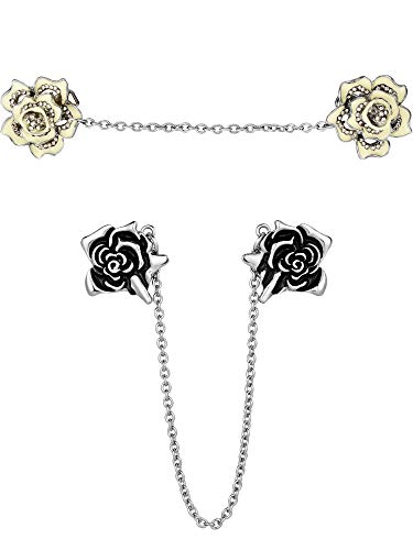 (Gejoy 2 Pieces Rose Sweater Shawl Clips Cardigan Dresses Clip Flowers Collar Clip with Chain for Women Girls (Style Set 2) )