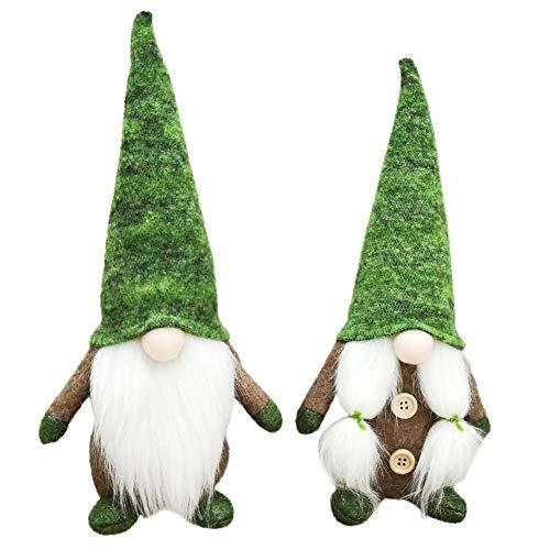 ANLUQIRIYON 2Pcs Santa GNOME Plüschpuppe, Weihnachten Long Hat Green Forest Elf Handgemachte Stoffpuppen Plüschtier für Tisch Wohnkultur Fenster Display, Weihnachten oder Geburtstagsgeschenk