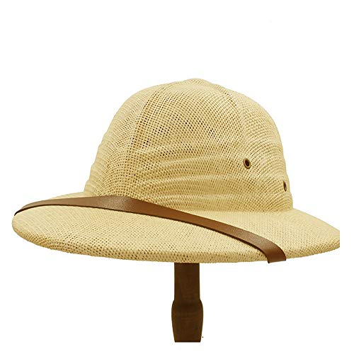 HHF Caps & Hats Simple Bowler Summer Straw Hat, Fashion Vietnam War Military Cap Ladies Men Explorer Hat Bow Bucket Sun Hat Jungle Miner Cap (Color : Yellow, Size : 56-58CM)]()