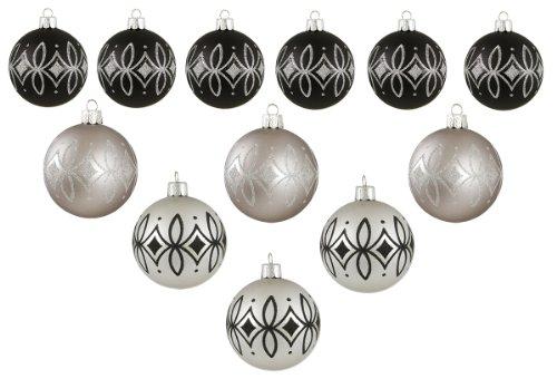 (12ct Silver and Black Diamond Shatterproof Christmas Ball Ornaments 2.5