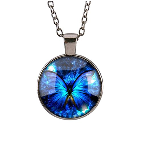 (Tuscom Vintage new Butterfly blue Cabochon Silver plated Glass Chain Pendant Necklace)