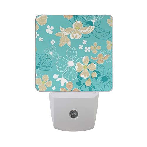 (Dogwood Seamless Pattern Auto Sensor LED Dusk to Dawn Night Light Plug in Indoor for Bedroom Bathroom Kitchen Hallway)