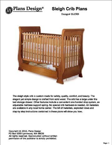 Clasic Sleigh Baby Crib With Drawer Woodworking Plans Baby