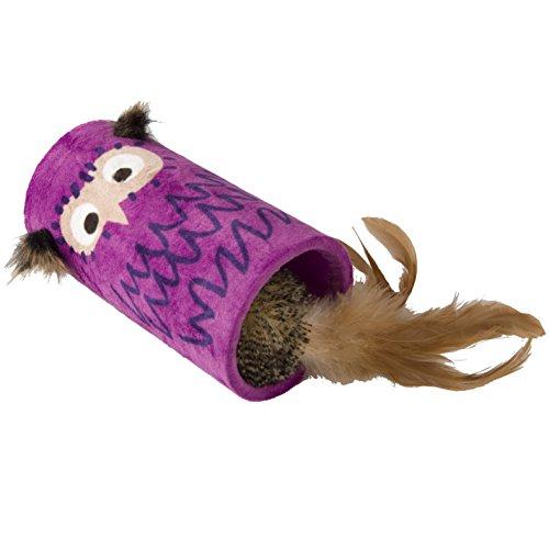 GiGwi 7135 elektrisches / interaktives Katzenspielzeug Melody Chaser Rolle mit bewegungsabhängigen Geräuschen und Eulenmotiv, Federspielzeug mit natürlichen Federn, zur Beschäftigung, lila