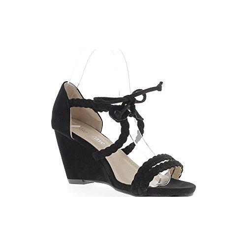 Negro cuña sandalias tacón 8cm look ante cordones y rebordes de tejido
