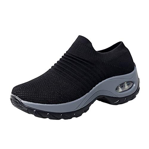 Midress Women's Mesh Sport Shoes Fashion Comfort Air Cushion Running Walking Athletic Shoes Breathable Slip On Rocking Sneakers