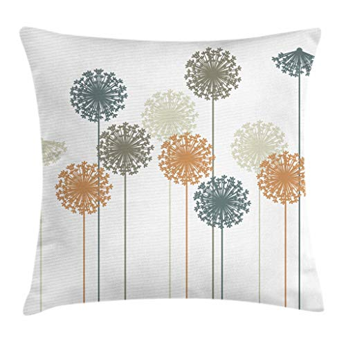 (Ambesonne Dandelion Throw Pillow Cushion Cover, Abstract Wildflower Silhouettes Botanical Inspirations Meadow in Summer Season, Decorative Square Accent Pillow Case, 28 X 28 Inches, Multicolor)