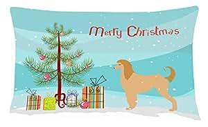 """Caroline tesoros del bb2924pw1216lebrel afgano feliz árbol de Navidad tela de lona almohada decorativa, 12""""X 16"""", multicolor"""