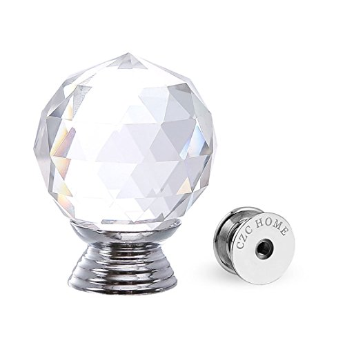 Crystal Handle Cabinet Cupboard Crystal Glass Drawers Knobs Dresser Bookcase (30mmx10pcs) ()