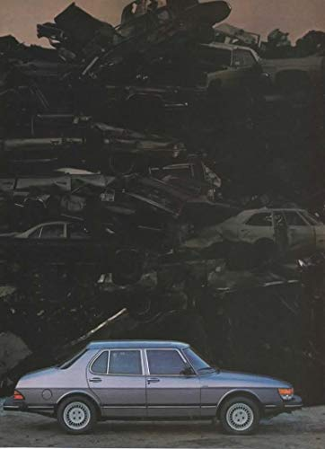 "Magazine Print ad: 1985 Saab 900 Turbo, 900S, 3 and 4 door models, Auto Junkyard Scene,""It Isn't Essential That One Experience Other Cars Before Buying a Saab. But It Can Be Very Convincing"", 2 pages"