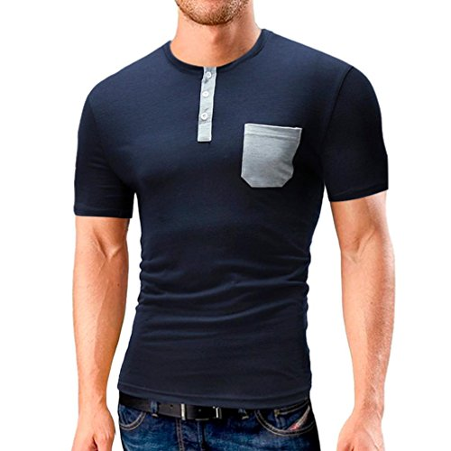 GREFER New Men's Summer Casual Pocket Solid Button T-shirt Short Sleeve Top Blouse by GREFER