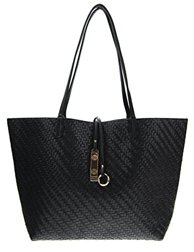 Canal Collections Reversible 2 in 1 Woven Pattern Fashion Tote Handbag with Pouch (Tote Black Fabric Handbags)