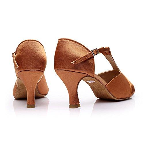 DorkasDE Absatz Absatz Latein Tanzschuhe Latein Damen mit Ballsaal 7cm 7cm 5 Braun Tanz Mädchen Schuhe Tanzschuhe 7qrtZwE7Bx