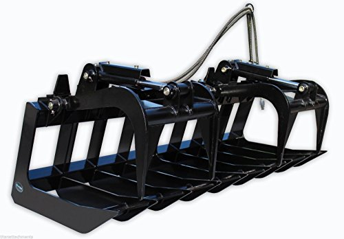 60'' Root Grapple Bucket Skid Steer Loader Rock Brush Bobcat Quick Tach Hydraulic by Titan Attachments