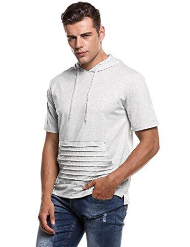 Short Sleeve Hooded Tee (Hotouch Men's Casual Short Sleeve T-Shirt Hoodies (Light Grey XL))