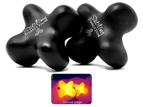Sublime (Original Black)(Set of 2) Synergy Stone - Contoured Hot Stone Massage Tools - Deep Heat for Muscle Tension Relief - Relaxing and Therapeutic - Matte Surface for on Skin with Oil only