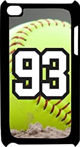 Softball Sports Fan Player Number 93 Black Plastic Decorative iPod iTouch 4th Generation Case