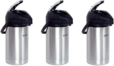 BUNN 32130.0000 3.0-Liter Lever-Action Airpot, Stainless Steel (3-Pack)