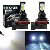 KaTur 2400 Lumens Extremely Bright Newest 3570 Chipets H11 H8 H9 LED Fog Light Bulbs Only for Daytime Running Light DRL or Fog Lights, Xenon White (H11, H8, H9 H16(Japan) White)