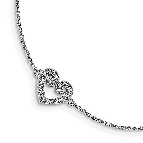 Sterling Silver CZ Brilliant Embers Polished Heart Anklet 1in Ext Solid 1 mm 9 in Themed Anklets Jewelry