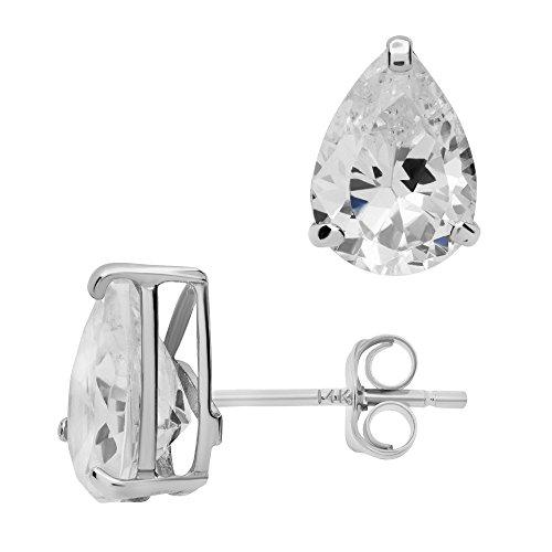- 14K White Gold Basket Set Pear-Shaped CZ Cubic-Zirconia Solitaire Stud Earrings 4, 5, 6 MM (7X5 Millimeters)