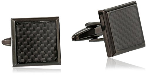 Black Tone Stainless Steel Carbon Cufflinks