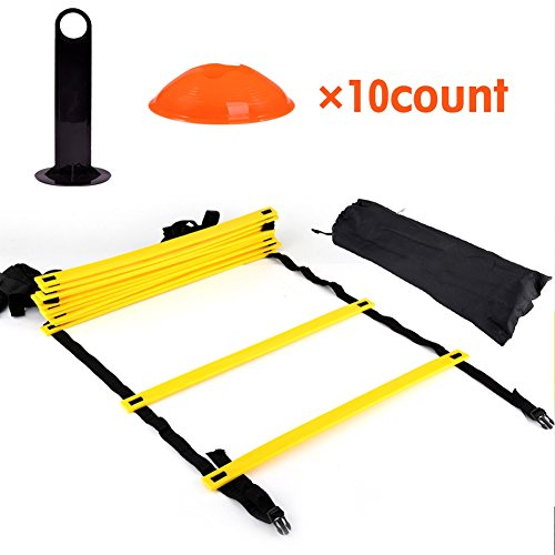 Agility Ladder -12 Adjustable Flat Rungs and 10 Cones (Orange/Yellow) for Fo,Speed Training Drills Kit by DEWIN