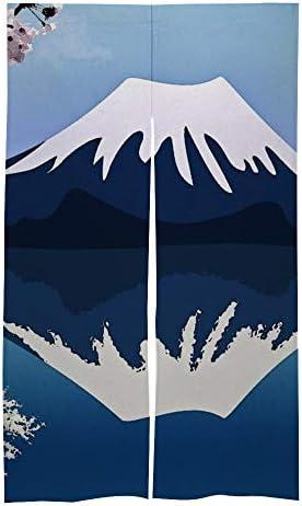 富士山 のれん おしゃれ キッチン用 飲食店 玄関網戸 日本のカーテン 暖簾 簡易あみ戸カーテン 間仕切り取付簡単 ホーム装飾 86x143cm