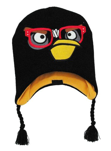 Angry Birds Rovio Black Bird Video Game Kids Boys Pilot Peruvian Laplander Hat