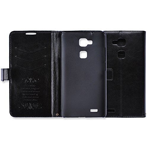 Huawei Mate 7 case, Rasse® Luxury Turn around holster PU Leather Cover Case For Huawei Mate7 with kickstand (Black)