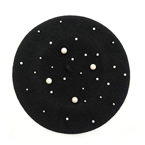 (Klong Women Wool Beret Hat French Style Solid Color with Venetian Pearl (Black+Pearl))