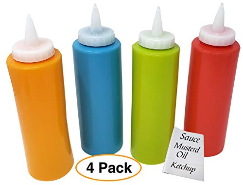 12 Bottle Oz Label (Sauce Dispenser squeeze Bottle for condiment (set of 4) of 12 oz each/for Ketchup, Oil, Mustard, Art & more comes with blank labels)