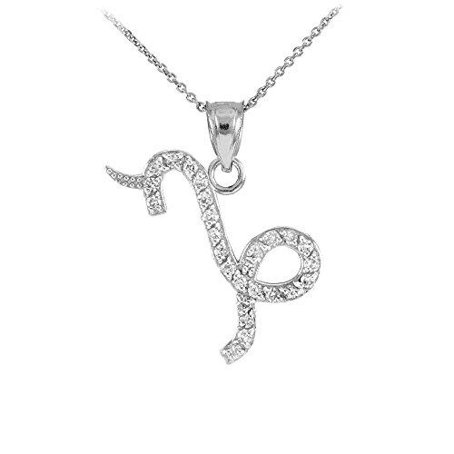 Collier Femme Pendentif 14 Ct Or Blanc Capicorn Zodiaque Signe Diamant (Livré avec une 45cm Chaîne)