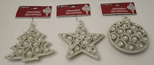 [Christmas Pearl Tree Onaments Unique Elegant Set of 3 Decoration Decorative Glitter Holiday Ivory Ornament] (Homemade Kids Halloween Costumes Unique)