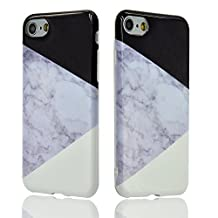 Iphone 5s Case, Iphone se 5 Case, Sunroyal Marble Pattern Gradient Geometric Dual-layer Soft Silicon Back + Flexible TPU Protective Anti-dust Cover [Marble Stone Pattern Series] - Retail Packaging