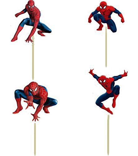 Spiderman Birthday Decoration Theme - Cupcake Spider-Man Toppers Picks 24 pcs in 4 different Spider man Figures (disposable paper designs) -