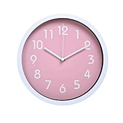 HITO™ Modern Colorful Silent Non-ticking Wall Clock- 10 Inches (Pink)