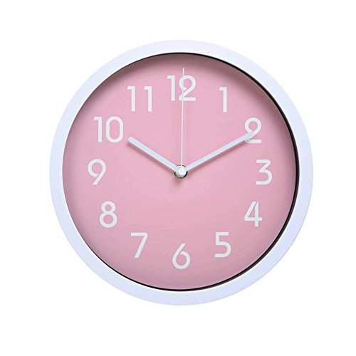 hitotm modern colorful silent non-ticking wall clock- 10 inches (pink)