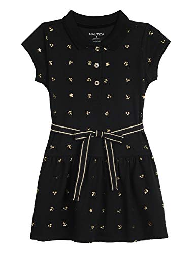 Nautica Toddler Girls Holiday Party Cap Sleeve Polo Dress, Black, 3T