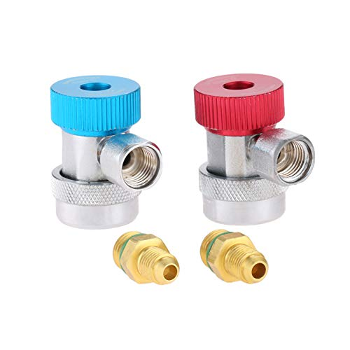 """Aupoko R134A Quick Coupler Connector, 1/4"""" SAE High Low Fitting Adapters, Fits for AC Freon Manifold Gauge Hose Conversion System"""