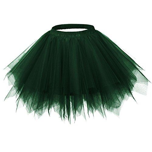 Ellames Women's Vintage 1950s Tutu Petticoat Ballet Bubble Dance Skirt Dark Green S/M -