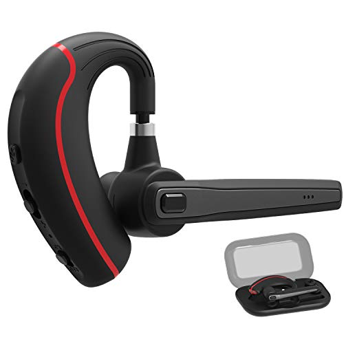 Bluetooth Headset,Wireless Earpiece V4.1 Hands Free Microphone (Super Sound Quality and 9 Hours Talk Time) for Business/Office/Driving (Red) by Mozarine