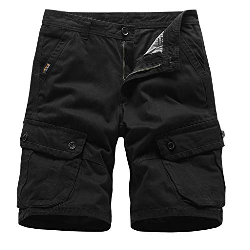 khdug✿Shorts for Men, Hawaiian Summer Letter Printed Casual Pocket Hip Hop Beach Pants Trousers Black
