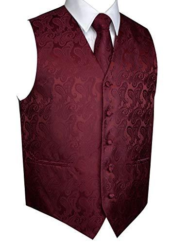 Italian Design, Men's Tuxedo Vest, Tie & Hankie Set in Burgundy Paisley