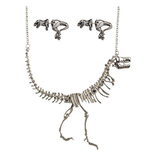 JANE STONE Silver Color Dinosaur Necklace Antique Silver Color Earrings Short Statement Jewelry Set