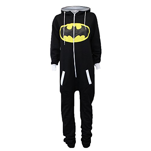 Damen Overalls Batman Superman Body All In One Sommer Overall Mit Kapuze - Schwarz - SABATMAN2, L