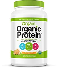 Orgain Organic Peanut Butter Protein Powder is a naturally smooth and delicious nourishment drink with 21g of organic protein and 6g organic fiber per serving. USDA Organic, Gluten Free, Kosher, Vegan, Non-GMO, Soy Free. No artificial flavors...